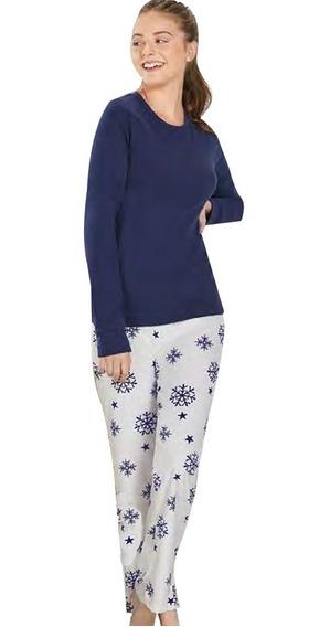 Pijama De Dama Copos De Nieve Algodon Azul Modelo Erica