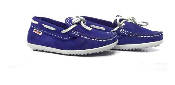 Sapato Infantil Couro Laroche Mocassim Azul 005474