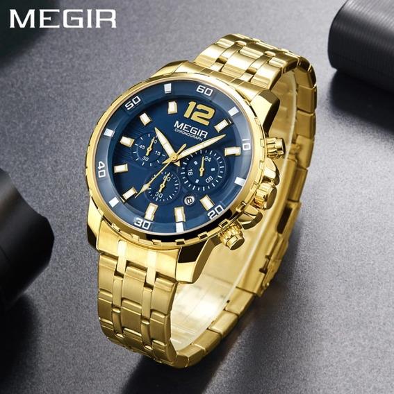 Relógio Dourado Masculino Megir Original Modelo Gold Luxo Cronográfos Resistente A Agua