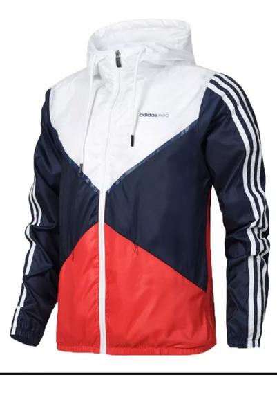 Jaqueta Corta Vento adidas Bco / Vermelho / Azul Masculina