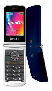 Telefone Flip Idoso Lemon Viva4 Azul Função Sos Teclas Falam