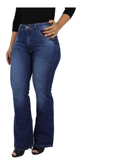 Linda Calça Jeans Feminina Flare Plus Size Cintura Alta Modela O Corpo Pronta Entrega Envio 24hs