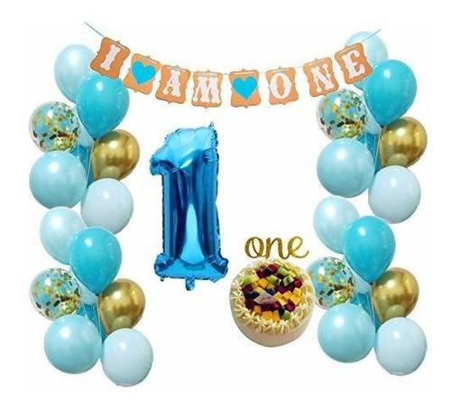 Imagen 1 de 4 de Baby Boy 1er Cumpleaños Decoraciones Rr Kit De Globos De Or