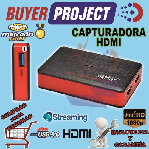 Capturadora Video Hdmi Agptek Full Hd 1080p Para Streaming