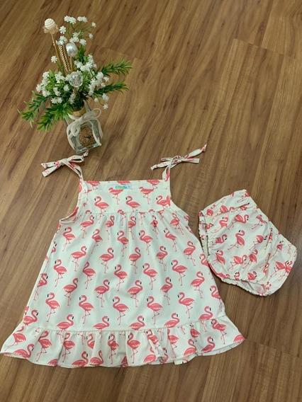 Vestido De Bebe Com Calcinha Infantil Menina 100% Algodão