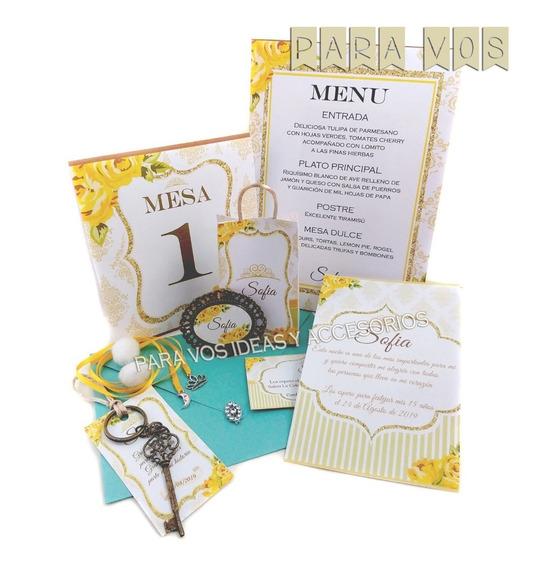 Invitaciones Para 15 Años Souvenirs Personalizados Kit 50