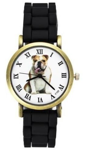Relógio De Pulso Plástico Retro Bulldog Cachorro - Novidade!