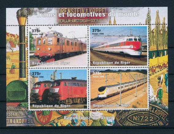Nigeria 1998 Trenes Del Mundo Serie Completa En Hb Mint