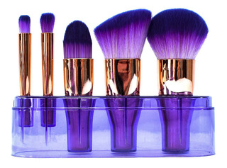 Set De 5 Brochas Para Maquillaje Profesional Con Estuche /c