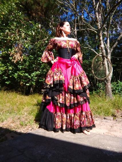 Conjunto Cigano Completo Rosa Cereja