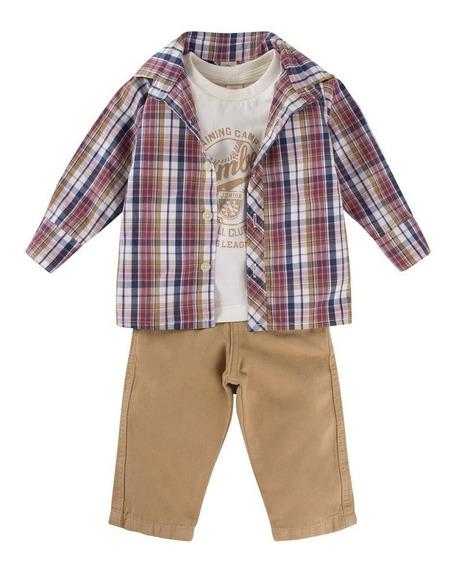 Conjunto Bebê 3 Peças Masculino Calça/camisa E Camiseta