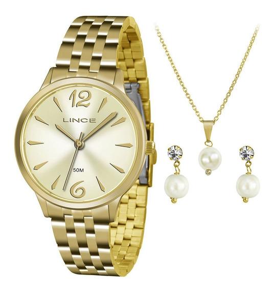 Kit Relógio Lince Feminino Lrgh047l Kt91c2kx Colar + Brinco