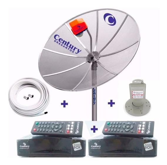 Antena Century Parabolica 190 Cm Multiponto 2 Receptor