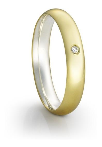 Aliança De Namoro Em Prata E Ouro Eterni Silver Gold Lumière