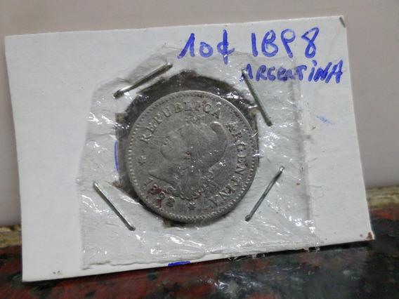 10 Centavos 1898 Argentina Cuproniquel Cj92