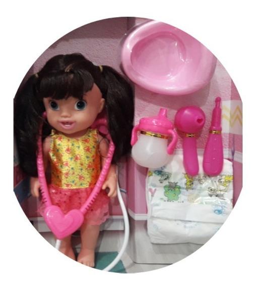Bonecas Baby Alive Com Acessórios Faz Xixi Castanho