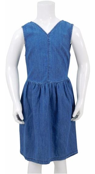 Vestido De Mezclilla Para Niña. Estilo 7142