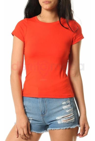 Remera Basica Importada Modal Con Lycra Color Rojo De Mujer