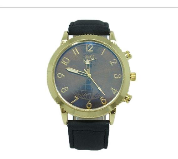 Relógio Nike Masculino Dourado Com Pulseira De Couro Preto