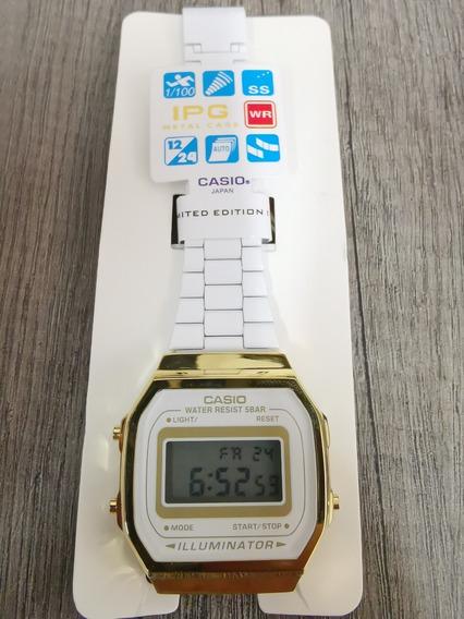 Reloj Casio Blanco Con Dorado Retro Vintage Clásico