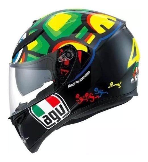 Capacete Agv K-3 Sv Turtle Tartaruga Réplica Valentino Rossi