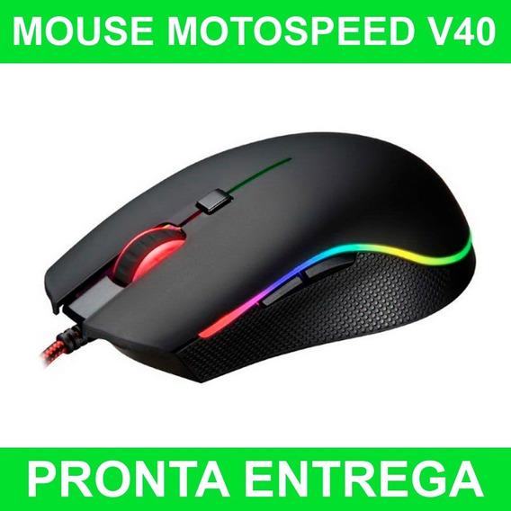 Mouse Gamer Motospeed V40 4000dpi Rgb 6 Botões P/entrega
