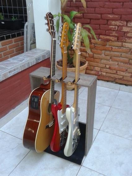 Suporte Guitarras 3 Lugares De Chão Com Travas