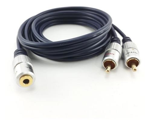 Cable De Audio 2 A 1 Rca A Jack Hembra 3,5mm 1.8mt