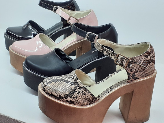 Sandalias Zapato Mujer Puntera Cerrada Charol Reptil