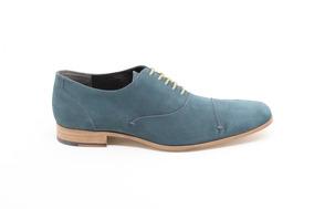 Zapato Formal Gino Cherruti Piel Nobuck Azul