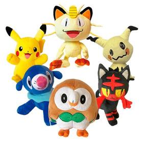 6 Pelúcias Poké Rowlet Litten Popplio Pikachu Meowth Mimikyu