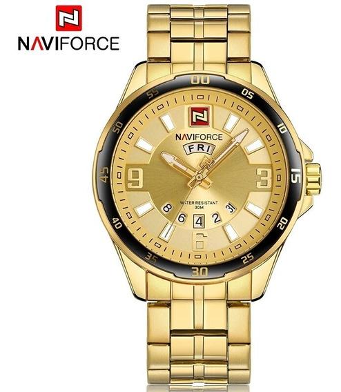Relogio Pulso Masculino Dourado Banhado Ouro 18k Naviforce