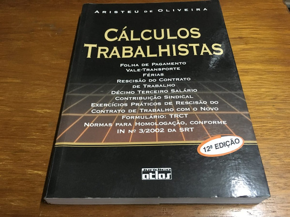 Livro Cálculos Trabalhistas - Frete R$ 15,00