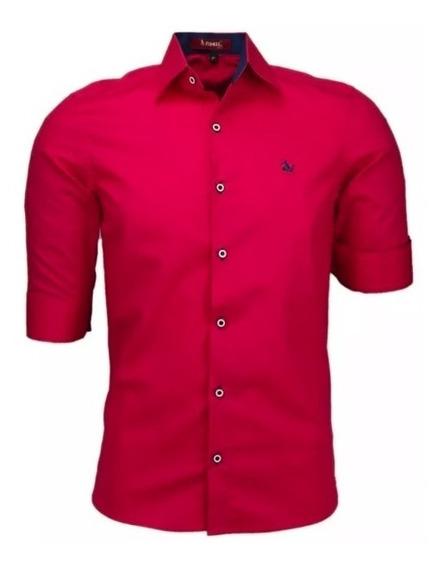 Camisa Casual Slim Amil 3/4 Luxo Masculino Algodão Original