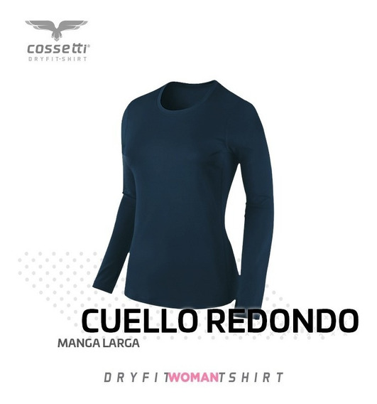 Playera Cuello Redondo Cossetti Manga Larga Dry Fit Xl,2xl