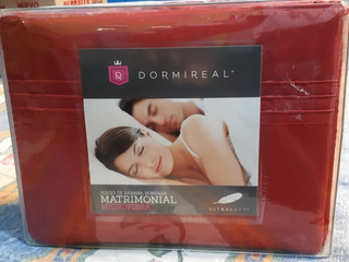 Juego De Sábana Bordada Matrimonial Microfibra (color Rojo)