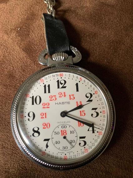 Reloj De Bolsillo Haste Como Nuevo Ferrocarrilero.