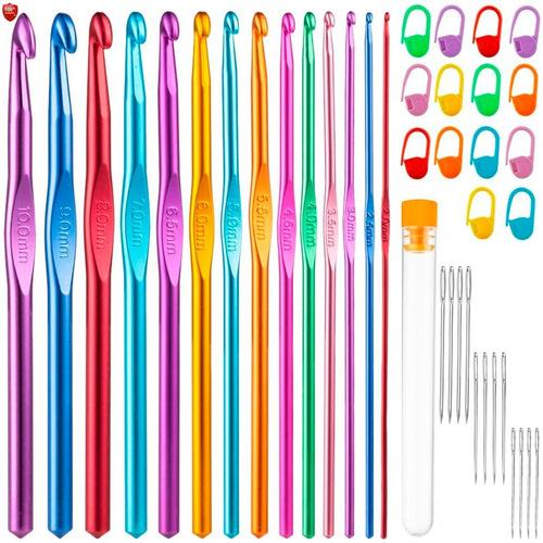 Imagen 1 de 8 de Set 14 Agujas Crochet Metálicas + Accesorios 40 Piezas