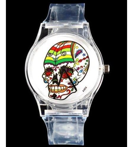 Relógio De Pulso Plástico Retro Caveira - Novidade!