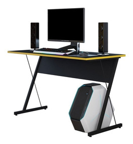 Mesa P/ Desktop Notebook Gamer Zetta Pto/amarelo Fit Mobel