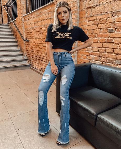 Calça Jeans Ref:621 Flare Rasgada Feminina Carmen Carmenere