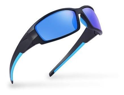 Oculos Polarizado Azul Moda Pesca Ciclismo 100% Proteção Uv