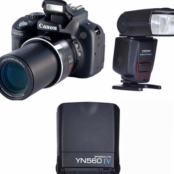 Canon Powershot Sx50 Hs + Flash Yongnuo Yn560-iv