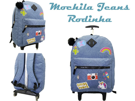 Mochila Trolley Escola Roda Jeans Unicórnio +pompom Mc-01822