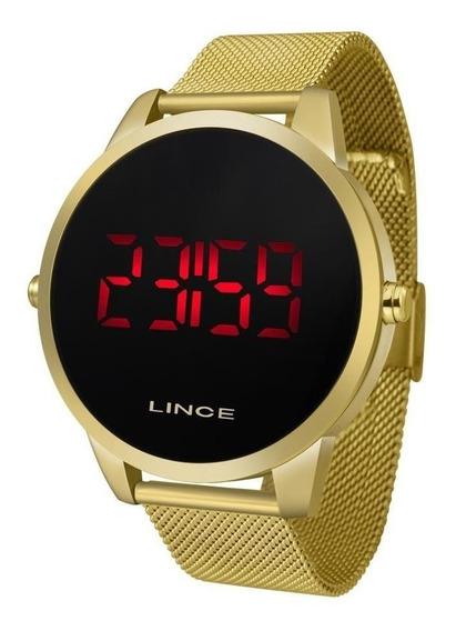 Relogio Lince Mdg4586l Pxkx Digital Dourado Led + Nfe