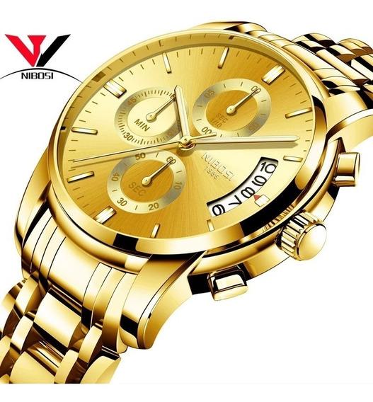Relógio Masculino Nibosi 2353 - 30m Dourado Original