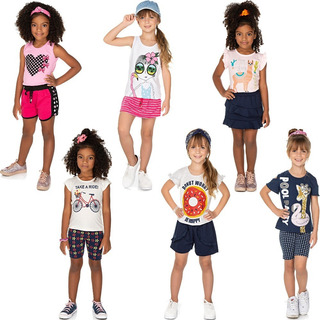 Roupa Infantil Menina Kit 6 Conjuntos Blusa E Shorts Isensee