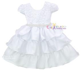 Vestido Festa Infantil Bebê Renda Luxo Batizado Promoção