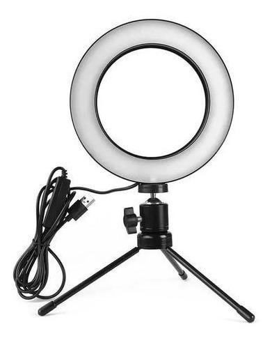 Iluminador De Led Com Tripe Ring Light Usb 16cm 6 Polegadas