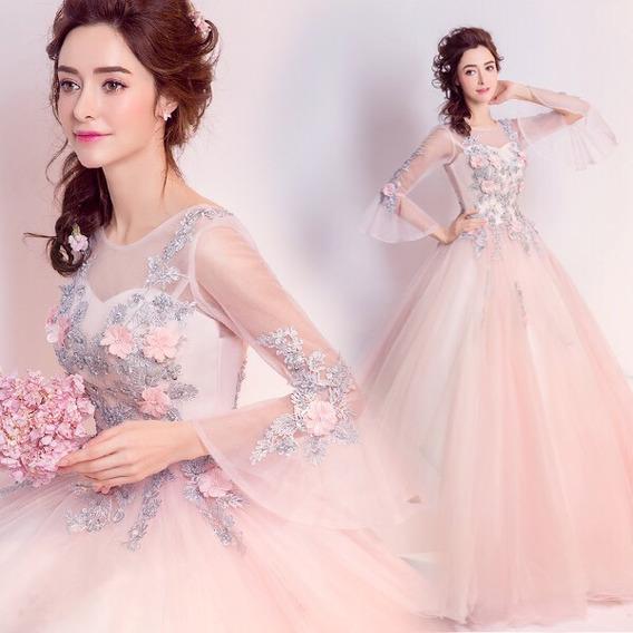 Vestido Xv Años 15 Rosas Bordadas 3d Transparencias